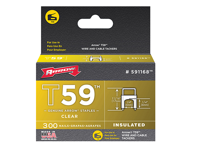 Arrow T59 Insulated Staples Clear 6 x 6mm Box 300 ARR591168