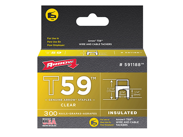 Arrow T59 Insulated Staples Clear 6 x 8mm Box 300 ARR591188