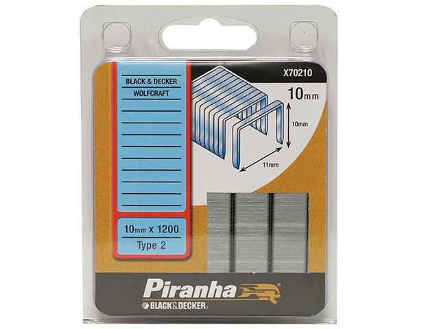 Black & Decker X70210 Flat Wire Staples 10mm Pack 1200 B/DX70210