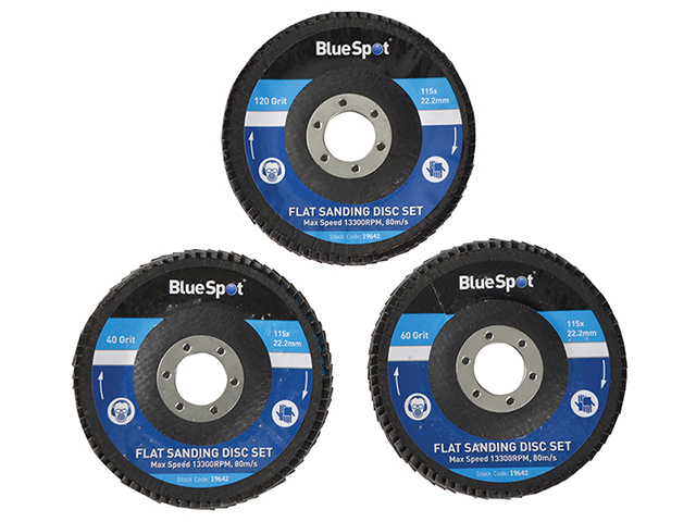 BlueSpot Tools Sanding Flap Disc Set 3 Piece 115mm (4.1/2in) B/S19642
