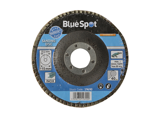 BlueSpot Tools Sanding Flap Disc 115mm 40 Grit B/S19690