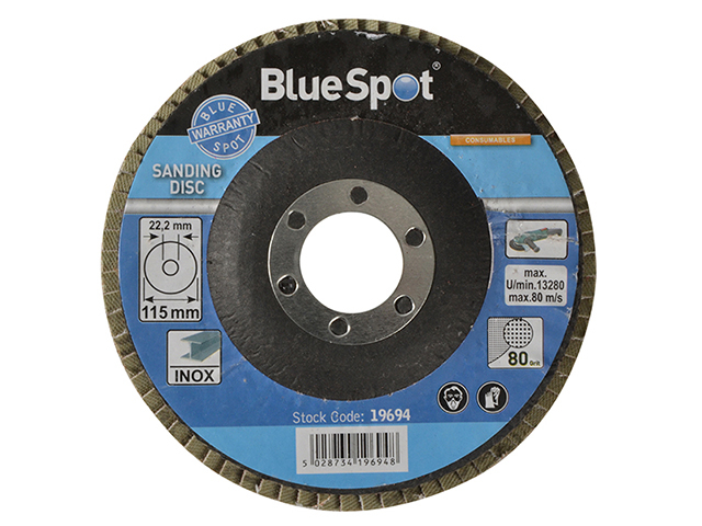 BlueSpot Tools Sanding Flap Disc 115mm 80 Grit B/S19694