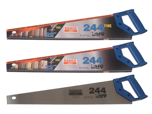 Bahco 2 x 244 Hardpoint Handsaw 550mm (22in) & 1 x 244 Fine Cut Handsaw 550mm (22in) BAH24422FCS