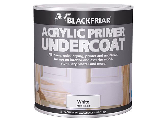 Blackfriar Quick Drying Acrylic Primer Undercoat White 1 Litre BKFWAP1L