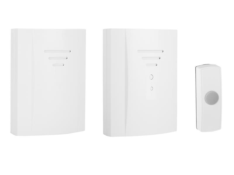 Byron B322 Wireless Doorbell Kit with Portable & Plug In Chimes 50m BYRB322