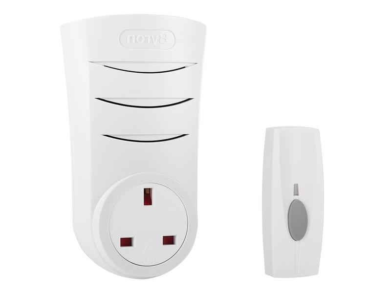Byron BY103 Wireless Doorbell with Plug Through Chime 60m BYRBY103