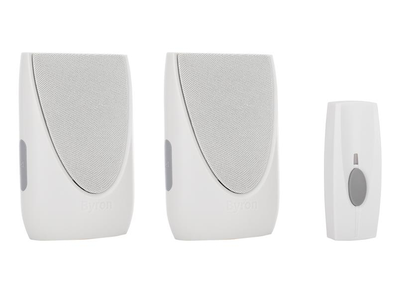 Byron BY212 Wireless Doorbell Kit with Portable & Plug In Chimes 100m BYRBY212