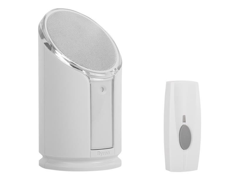 Byron BY301 Wireless Doorbell with Portable Extra Loud & Flashing Chime 100m BYRBY301