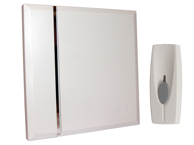 Byron BY401W Wireless Doorbell with Portable Chime 60m BYRBY401W