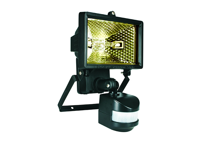 Byron ES120 Halogen Floodlight With PIR Black 120 Watt BYRES120