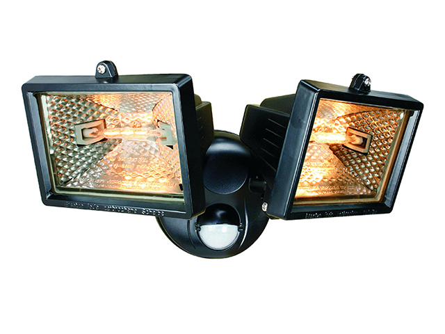 Byron ES120/2 Twin Halogen Floodlight With PIR Black 150 Watt BYRES1202