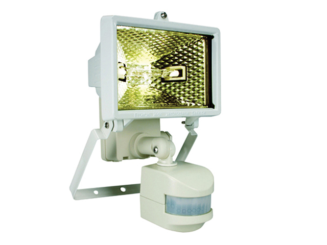 Byron ES120W Halogen Floodlight With PIR White 120 Watt BYRES120W
