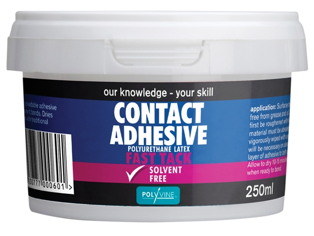 Polyvine Contact Adhesive Solvent-Free Fast Tack 250ml CASCA250