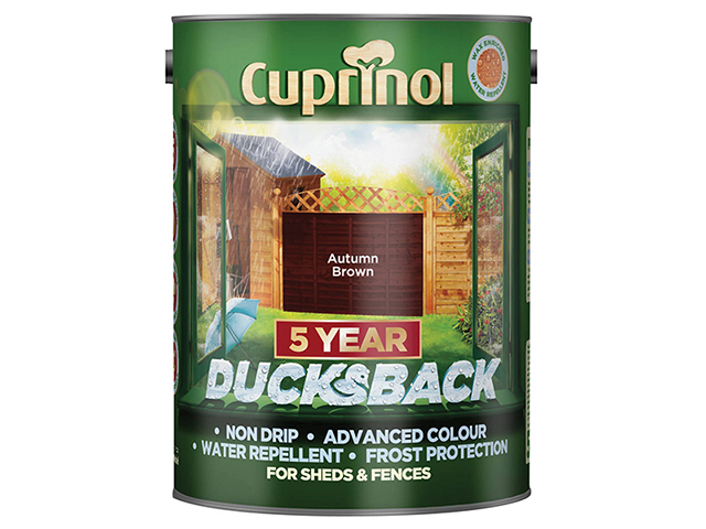 Cuprinol Ducksback 5 Year Waterproof for Sheds & Fences Autumn Brown 5 Litre CUPDBAB5L