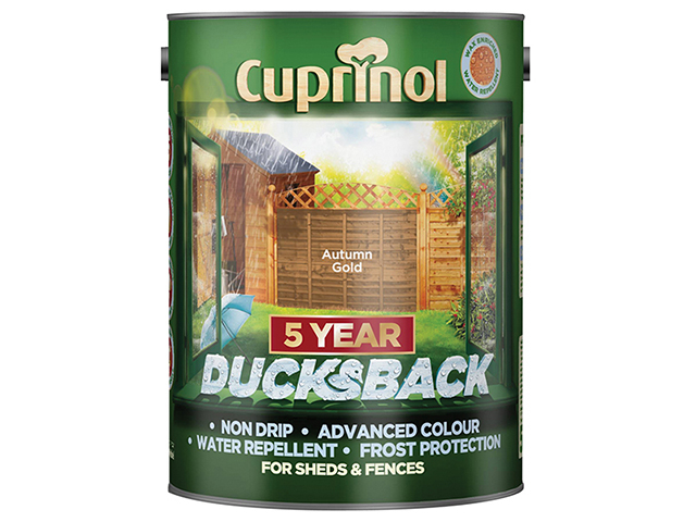 Cuprinol Ducksback 5 Year Waterproof for Sheds & Fences Autumn Gold 5 Litre CUPDBAG5L