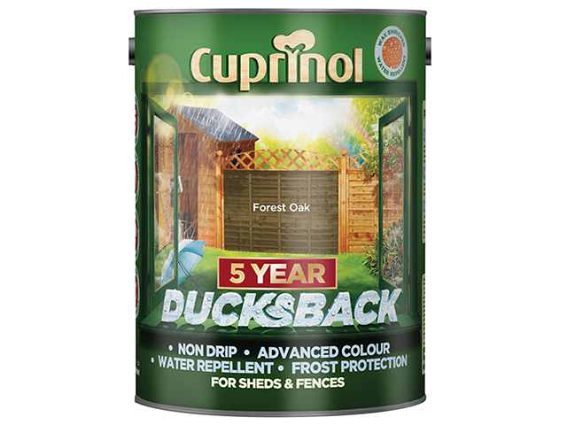 Cuprinol Ducksback 5 Year Waterproof for Sheds & Fences Forest Oak 5 Litre CUPDBFO5L