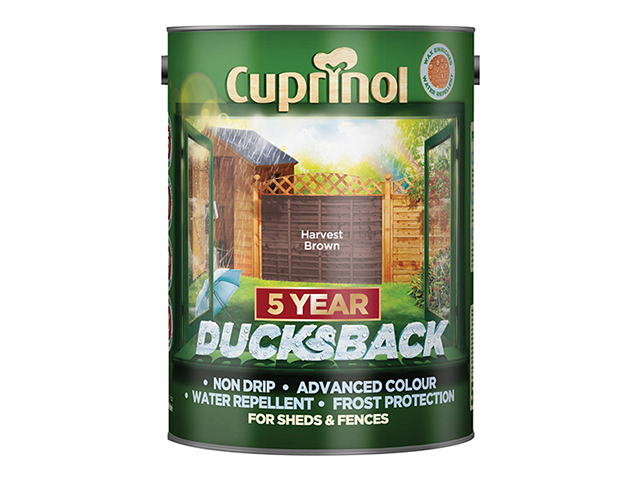 Cuprinol Ducksback 5 Year Waterproof for Sheds & Fences Harvest Brown 5 Litre CUPDBHB5L