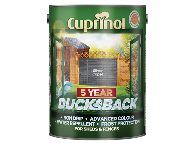 Cuprinol Ducksback 5 Year Waterproof for Sheds & Fences Silver Copse 5 Litre CUPDBSC5L