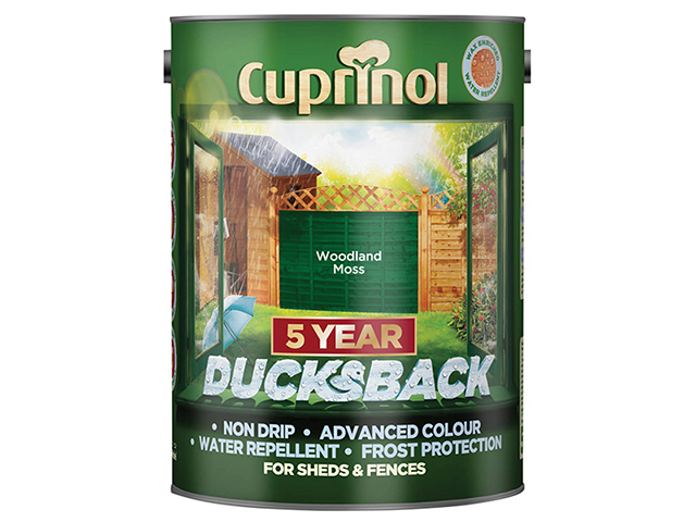 Cuprinol Ducksback 5 Year Waterproof for Sheds & Fences Woodland Moss 5 Litre CUPDBWM5L