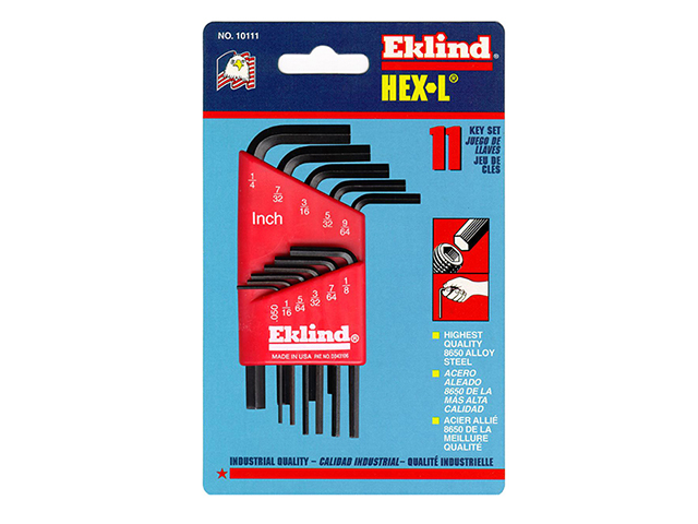 Eklind Hexagon Key Short Arm Set of 11 Imperial (1/16 - 1/4in) EKL10111