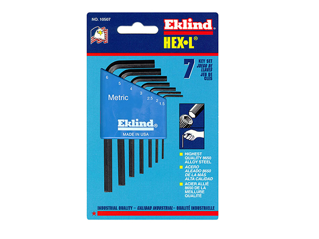 Eklind Hexagon Key Short Arm Set of 7 Metric (1.5-6mm) EKL10507