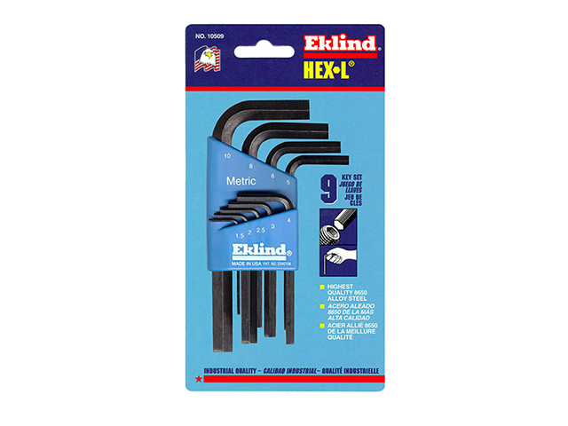 Eklind Hexagon Key Short Arm Set of 9 Metric (1.5-10mm) EKL10509