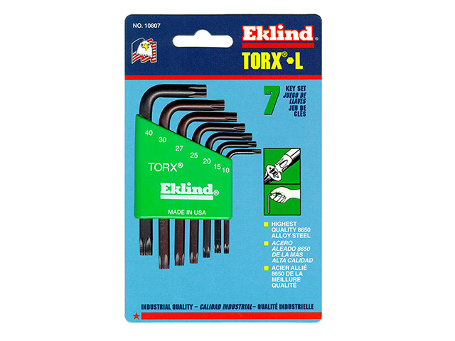 Eklind TORX Key Short Arm Set of 7 (TX10-TX40) EKL10807