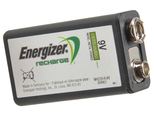 Energizer® 9 Volt Rechargeable Power Plus Battery R9V 175 mAh Single ENGRC9V175