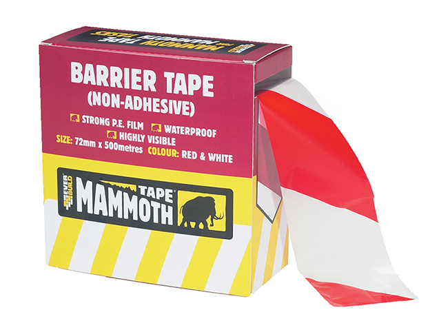 Everbuild Barrier Tape Red / White 72mm x 500m EVB2BARRD500