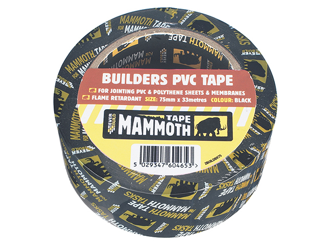 Everbuild Builder's PVC Tape Black 50mm x 33m EVB2BTBK50