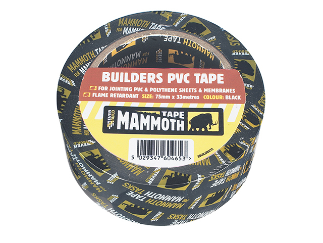 Everbuild Builder's PVC Tape Black 75mm x 33m EVB2BTBK75