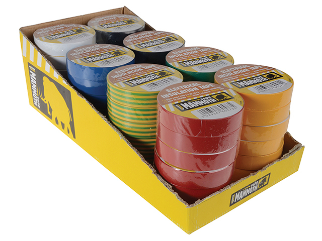 Everbuild Electrical Insulation Tape 19mm x 33M Display of 48pc Assorted Colours EVB2ELECMIX