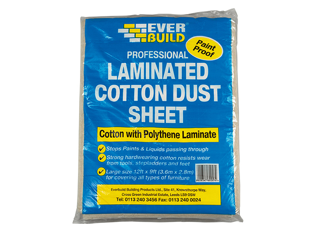Everbuild Laminated Cotton Dust Sheet 3.6 x 2.7m EVBLAMDUST