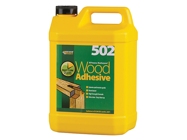 Everbuild 502 All Purpose Weatherproof Wood Adhesive 5 Litre EVBWOOD5