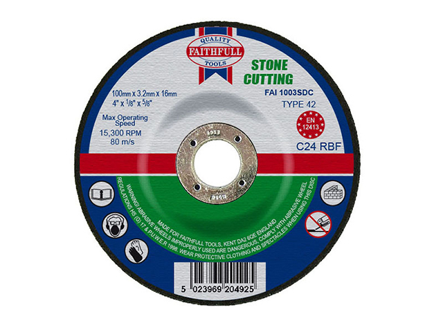 Faithfull Depressed Centre Stone Cut Off Disc 100 x 3.2 x 16mm FAI1003SDC