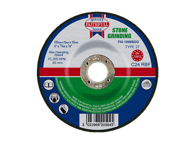 Faithfull Depressed Centre Stone Grinding Disc 100 x 6 x 16mm FAI1006SDG