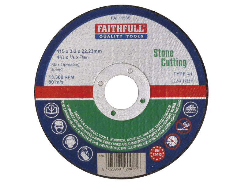 Faithfull Stone Cut Off Disc 115 x 3.2 x 22.23mm FAI1153S