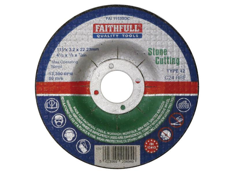 Faithfull Depressed Centre Stone Cutting Disc 115 x 3.2 x 22.23mm FAI1153SDC