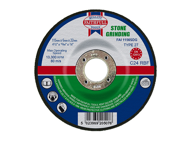 Faithfull Depressed Centre Stone Grinding Disc 115 x 6 x 22.23mm FAI1156SDG