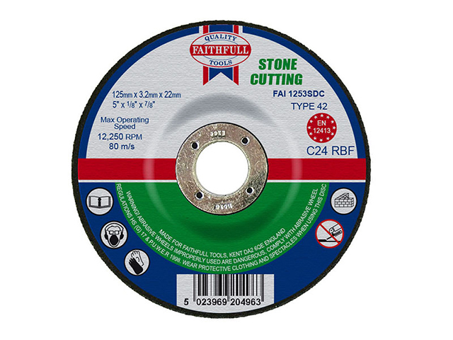 Faithfull Depressed Centre Stone Cutting Disc 125 x 3.2 x 22.23mm FAI1253SDC