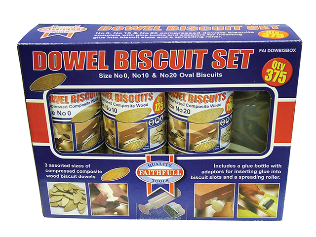 Faithfull Biscuit Wood Kit (150 x No.0 125 x No.10 100 x No.20) FAIDOWBISBOX