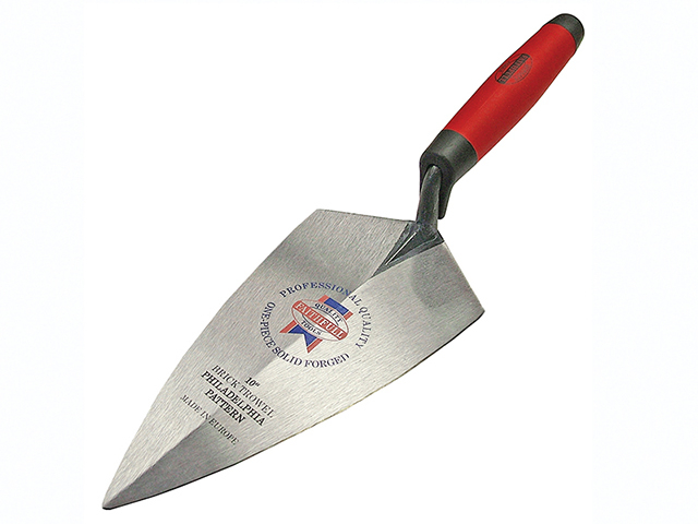 Faithfull Philadelphia Pattern Solid Forged Brick Trowel Soft Grip Handle 10in FAISGBTFP10