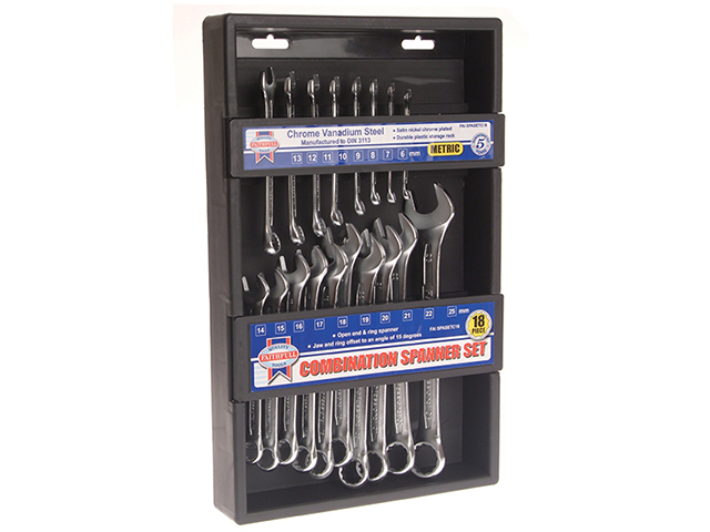 Chrome Vanadium Combination Spanner Set, 18 Piece