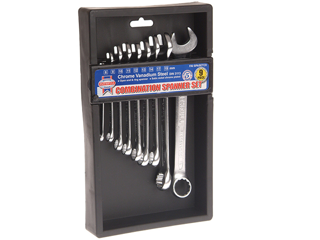 Chrome Vanadium Combination Spanner Set, 9 Piece