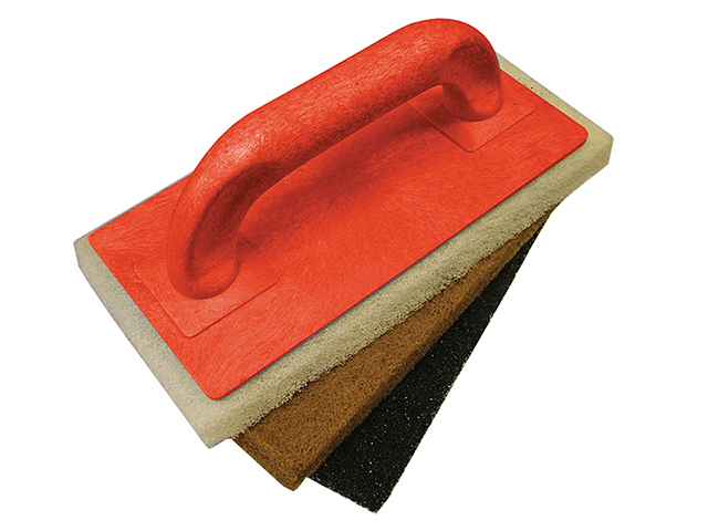 Faithfull Scouring Pad Holder + Fine Medium & Coarse Pads FAITLSCOUR3