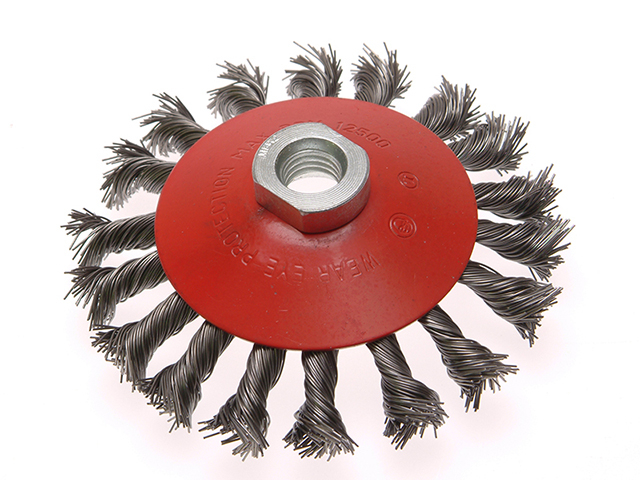 Faithfull Conical Wire Brush 100mm M14 Bore 0.50mm Wire FAIWBTC100