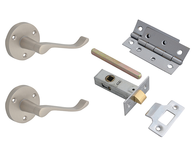 Forge Door Pack - Scroll Lever On Rose Satin Chrome Finish FGEDPCKLORSC