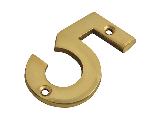 Forge Numeral No.5 - Brass Finish 75mm (3in) FGENUM5BR75