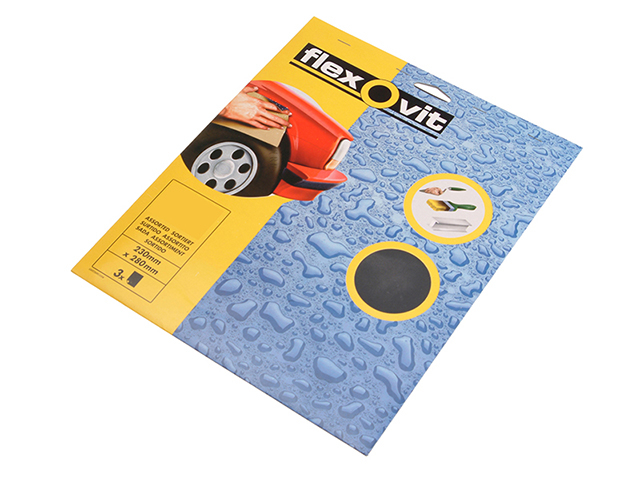 Flexovit Waterproof Sanding Sheets 230 x 280mm Medium 240G (3) FLV26302