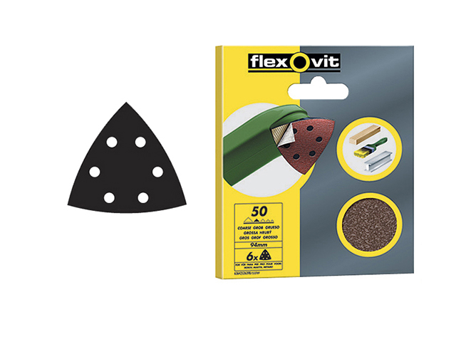 Flexovit Delta Hook & Loop Sanding Sheets 94mm Fine 120G (Pack 6) FLV26401